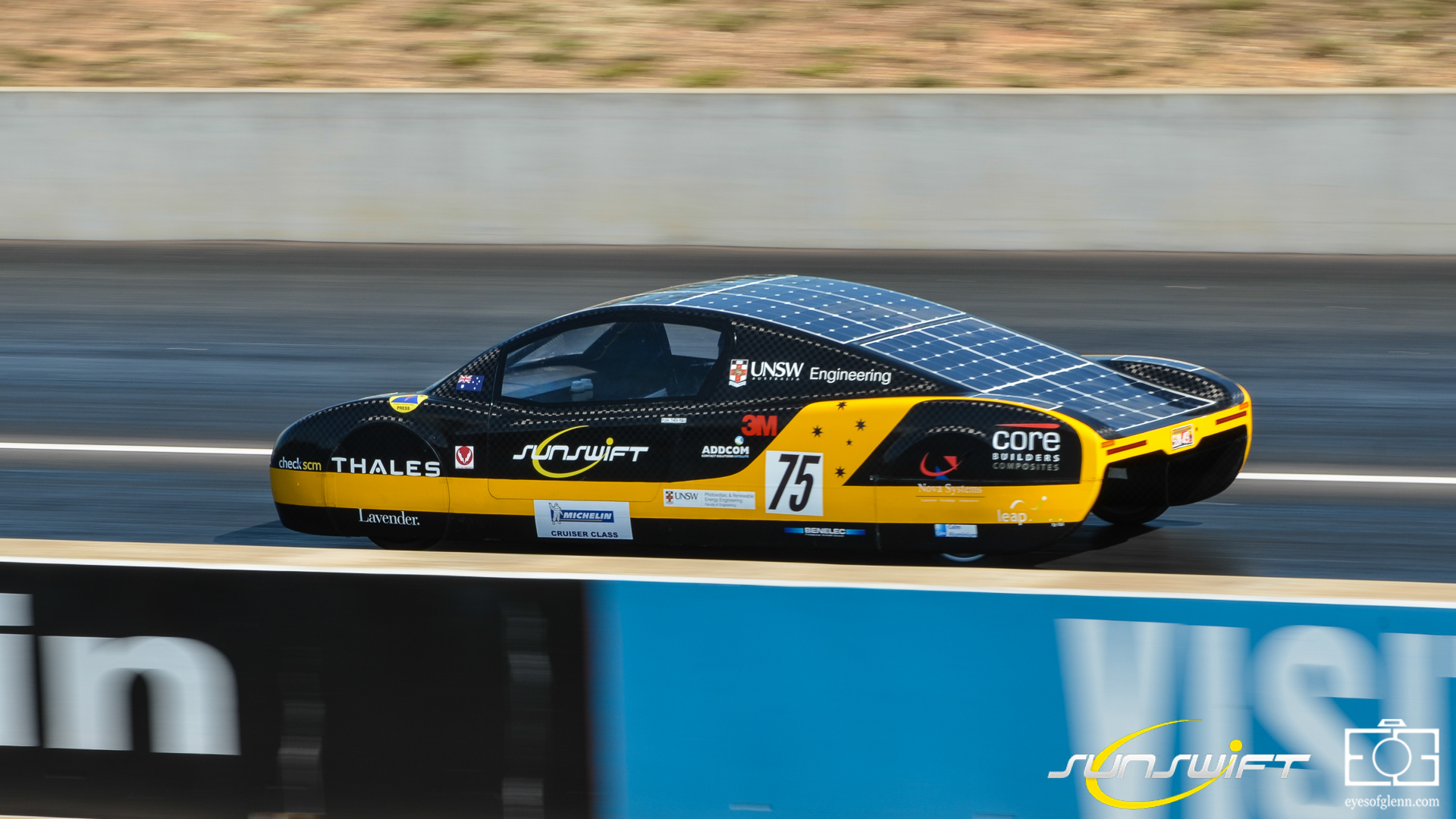 Sunswift eVe during dynamic scruitineering at Hidden Valley
